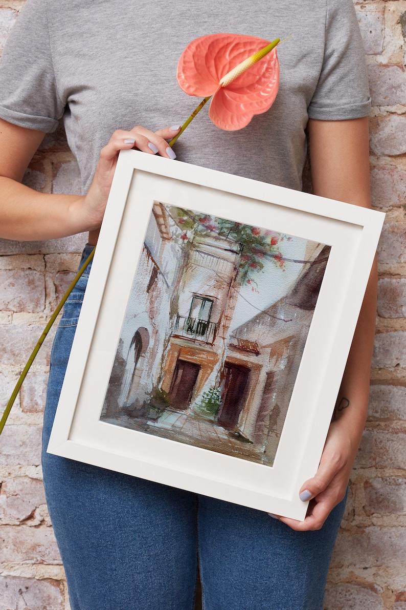Original Watercolor Painting Italian Courtyard Town Landscape