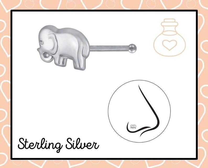 sterling silver elephant  nose stud sterling silver elephant nose stud tiny elephant nose stud Elephant  nose stud bone ball finish