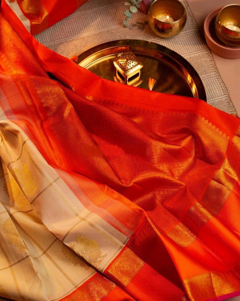 beutiful kanchipuram soft silk  Saree  for party wear designer  saree with contrast bodar and blouse piece sari..