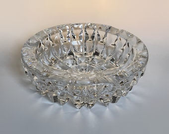 Vintage crystal ashtray, crystal trinket bowl, glass candy bowl, glass candy dish