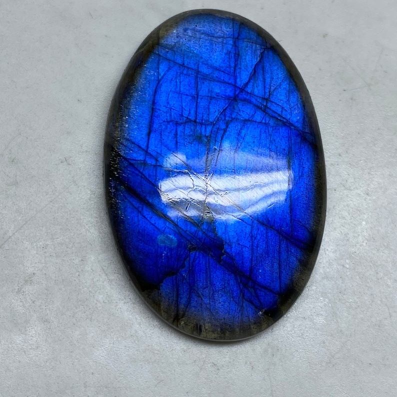 Multi Blue Flashy Bullet Fancy Shape Gorgeous Labradorite Cabochon Both Side Polish Size Cts Labradorite Use For Jewelry 38x29x7 MM 73