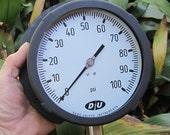large vintage Pressure Gauge 6 quot diameter dial steampunk Duro United Instruments