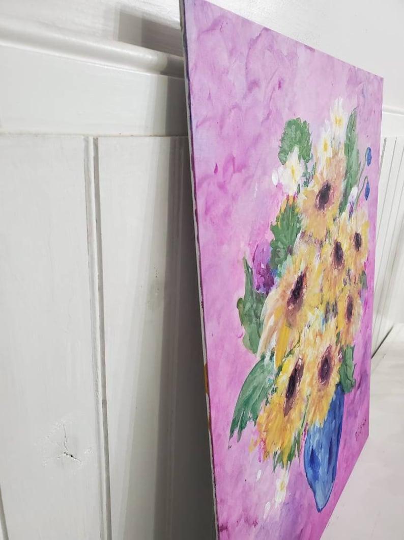 Original Acrylic Art Painting Sunflower Vase