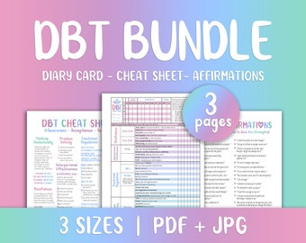 DBT Bundle, DBT Skills, Cheat Sheet, DBT Diary Card, Affirmations, bpd Sheet, Printable Mental Health, Therapy Worksheet, Mood Tracker