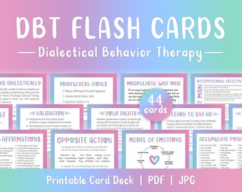DBT Flash Cards, 44 Printable Cards, Self Help Cards, Coping Skills, BPD, Borderline, Depression, Anxiety, PTSD, Mental Health Printable