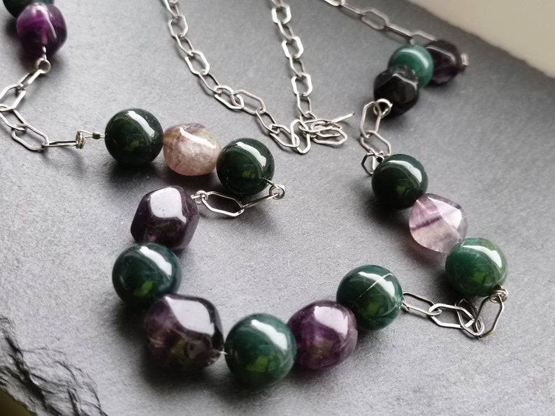 long silver chain Gem necklace jade for her amethyst