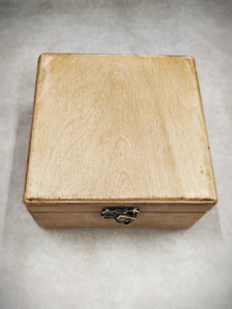 Jewelry Box Wooden Box Gift For Her Light Wood Light Color 14*14*7 cm Storage Wooden Box