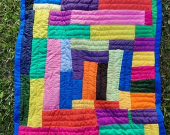 Handsewn Quilt, Handstitched Quilt, Wall Art, Quilted Throw, Gee's Bend Quilt