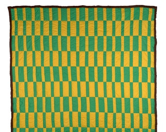 Handsewn Quilt, Cotton Quilt, Artistic Quilt, Green and Yellow Basket weave Quilt, Gee's Bend Quilt
