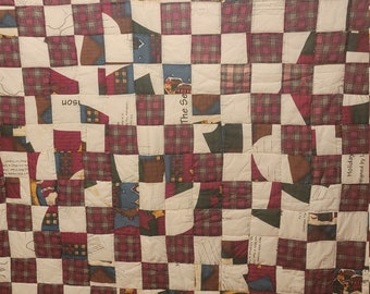 Handsewn Quilt, Cotton Quilt, Artistic Quilt,-Holiday Themed-Square Block Design-Gee's Bend Quilt