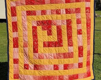 Handsewn Quilt, Cotton Quilt, Artistic Quilt, Blocks, Red-Gold,Gee's Bend Quilt