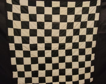 Handsewn Quilt- Cotton Wallhanger- Artistic Quilted Wallhanger- black, and white- Checker board-Gee's Bend Quilt