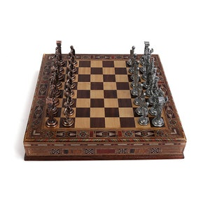 Mythologic Pegasus Metal Chess Set Handmade Pieces,Natural Solid Wooden Chess Board with Original Pearl,Storage Inside King 3.75 inc