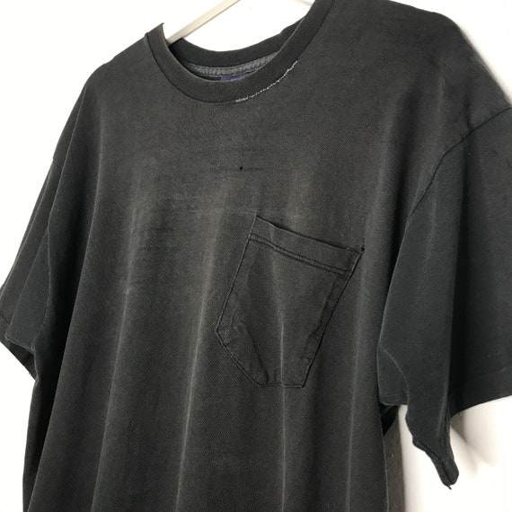 Early 1990s Faded Repaired Blank Black Pocket Tee