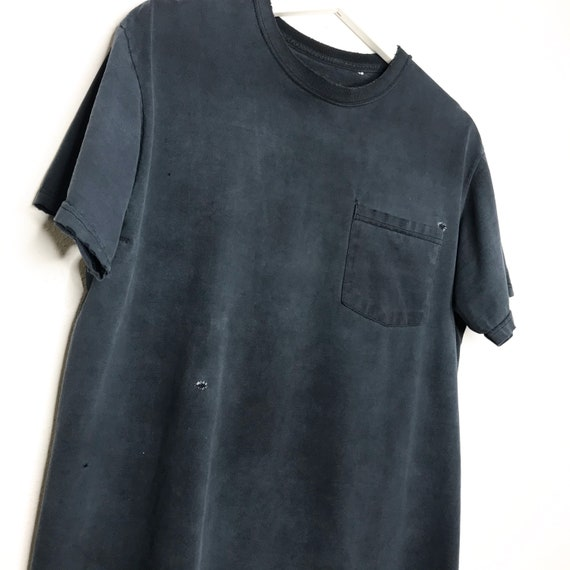 Late 1990s Faded Repaired Black Blank Pocket Tee S
