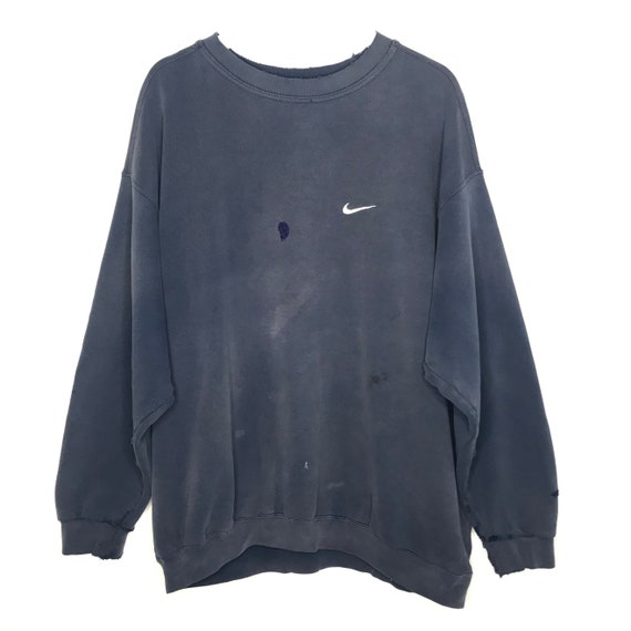Mid 1990s Faded Repaired Navy Nike Sweatshirt
