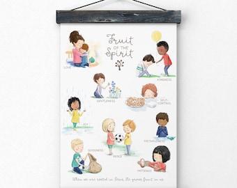 Fruit of the Spirit, Christian children's wall art, art print, Christian childrens poster, kids room, nursery art, children's room art