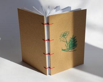 Handmade Paper sketchbook, Hand Bound, Coptic Stitch, Caterpillar stitch, Gift Idea, Lays Flat, Orange, Pocket size