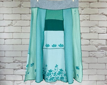Upcycled T-Shirt Skirt Women's M Dragonfly Semi-Colon Boho Hippie One-Of-A-Kind Green A-Line