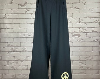 Peace Pants Women's XS Upcycled Hippie Boho Wide Leg Peace Sign Applique Black Pants Green Leaf Bias Tape Trim
