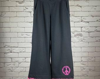 Peace Pants Women's M Upcycled Hippie Boho Wide Leg Black Peace Sign Applique Bias Tape Hem Trim Pink Batik