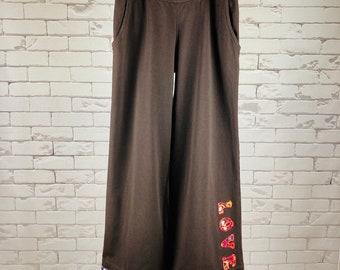 """Peace Pants Women's L Upcycled Hippie Boho Wide Leg Brown """"Love"""" Applique Bias Tape Hem Multicolor Folk Art Trim"""