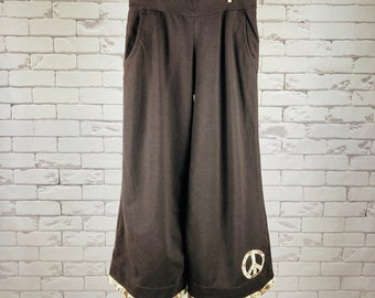 Peace Pants Women's M Upcycled Hippie Boho Wide Leg Brown Peace Sign Applique Bias Tape Hem Trim Batik Trim