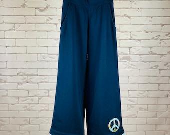 Peace Pants Women's XS Upcycled Hippie Boho Wide Leg Dark Blue Peace Sign Applique Bias Tape Hem Blue Modern Print Trim