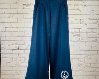Peace Pants Women's S Upcycled Hippie Boho Wide Leg Dark Blue Peace Sign Applique Bias Tape Hem Blue Batik Trim