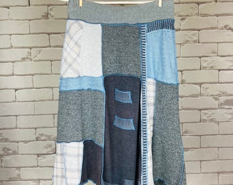 Upcycled Sweater Skirt Women's M One-Of-A-Kind A-Line Blue Grey Brown