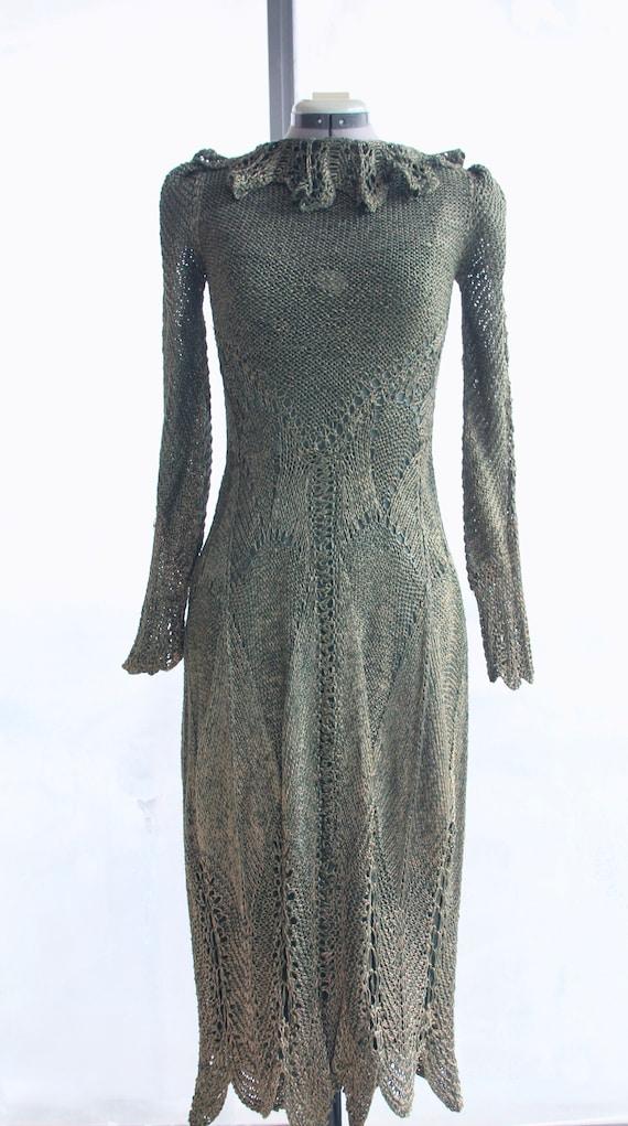 1980s Vintage Italian Hand-Knit Silver-Green Dress