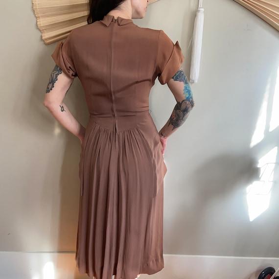 1940's Silk Rayon Peplum Dress - image 4