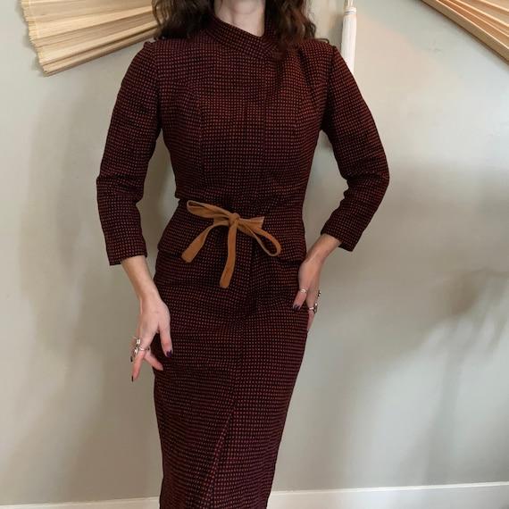 1950's Wool Peplum Dress