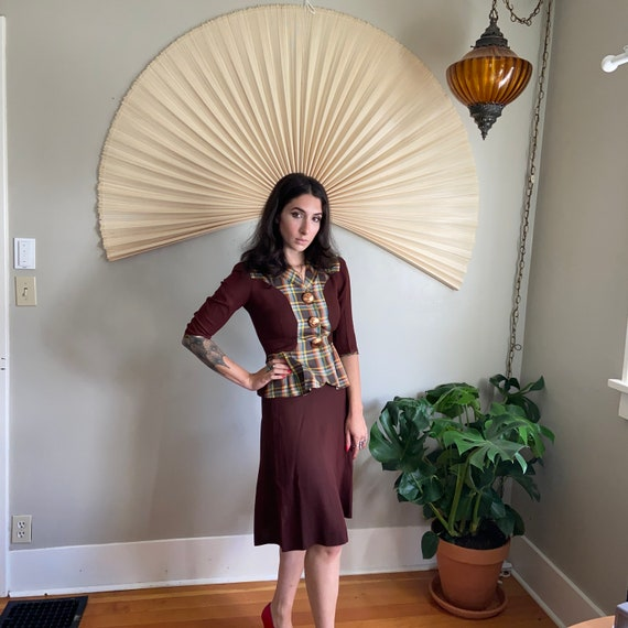 Chocolate Plaid 1940's Skirt Suit