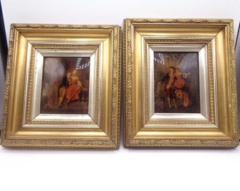 A Pair Of Antique Victorian (19th century 1890s) Crystoleums Paintings