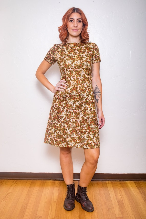 Vintage 1950/'s Paisley Shirtwaist Dress  50s Plus Size Day Dress XL