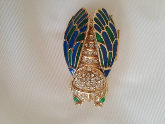 Green crystal with gold brocade triangle brooch