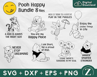 Pooh happy quotes svg bundle, Winnie the pooh bundle, pooh shirt svg, pooh clipart, disney svg bundle, disney svg files for cricut
