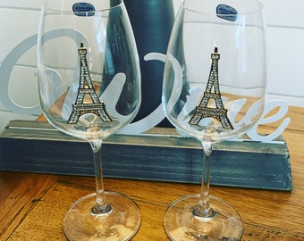 French Paris Eiffel Tower Monogrammed Personalized Wine Glass