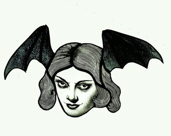 Bat girl stained glass piece