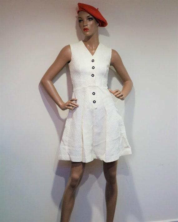 60's Woven White Mod Mini Dress