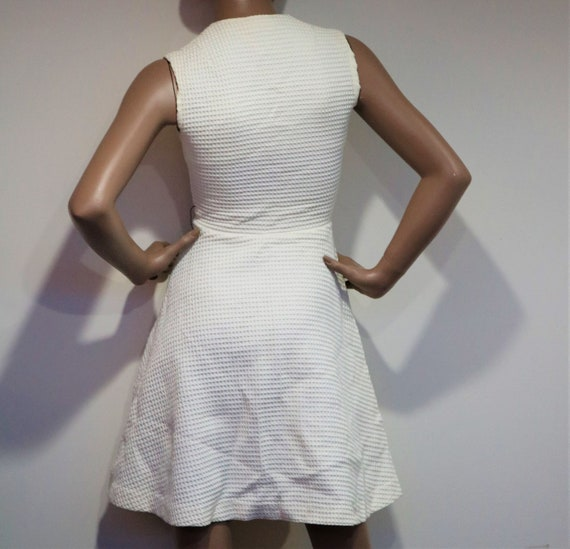 60's Woven White Mod Mini Dress - image 4