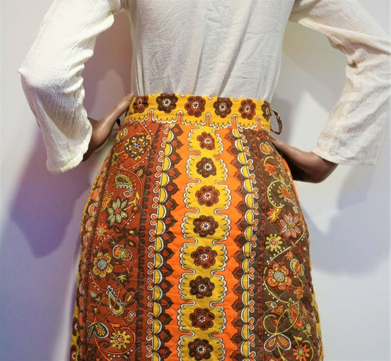 Groovy Quilted 60's Hippie Maxi Skirt