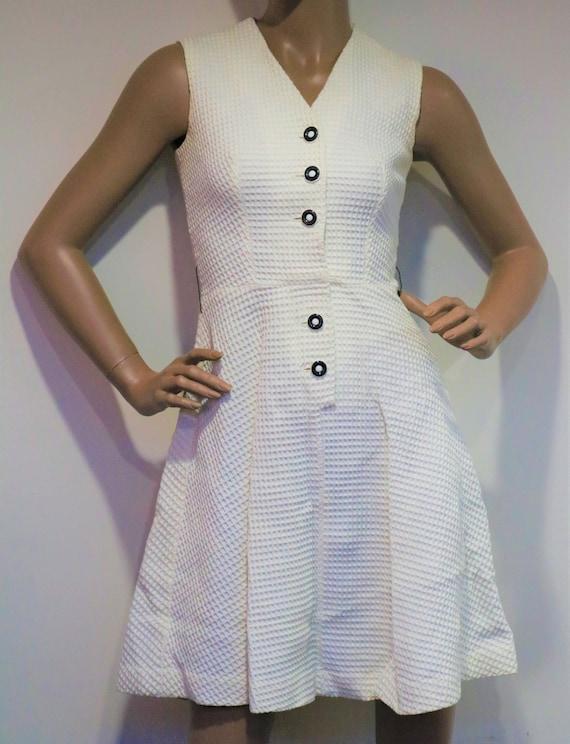 60's Woven White Mod Mini Dress - image 3