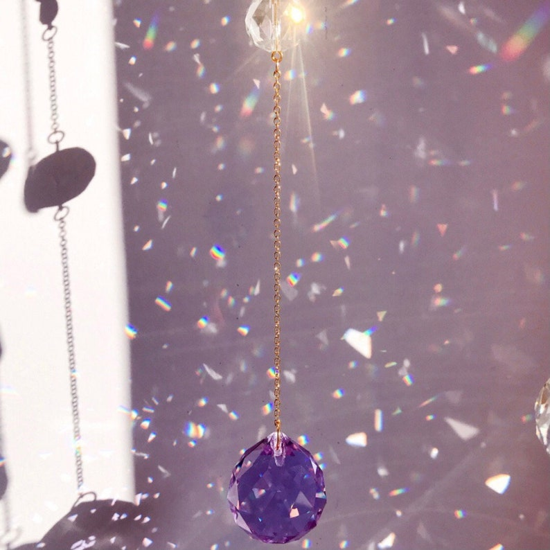 Small stars Crystal Suncatcher Suncatcher about space Cresent Crystal Suncatcher Purple Crystal Suncatcher Suncatcher for windows