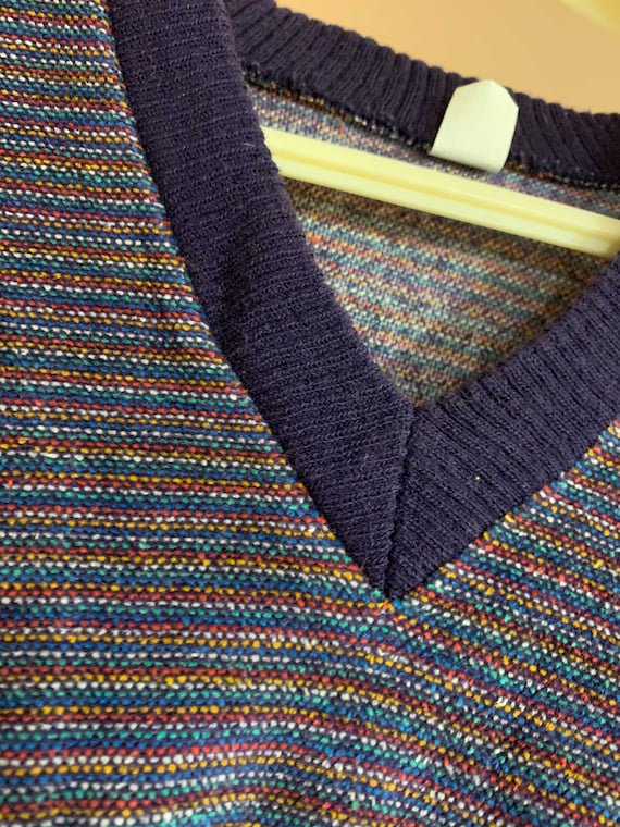 Vintage 1970s Velour V-Neck Sweater with Knit Cuf… - image 3