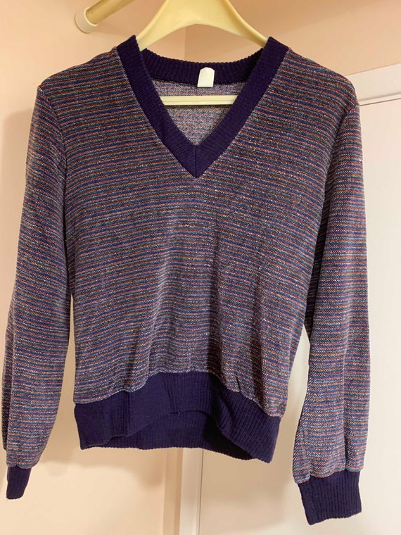 Vintage 1970s Velour V-Neck Sweater with Knit Cuff
