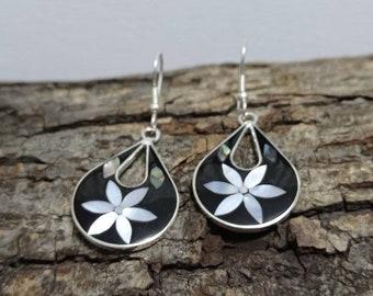 Mexican earrings Bohochic jewelry,floral earrings Mother of Pearl  earrings Hook earrings geometric Earrings Silver plated earrings
