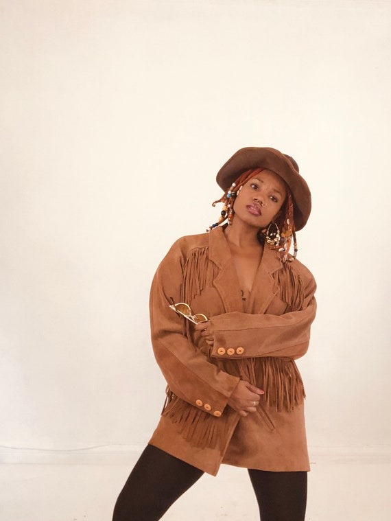 Brown Vintage Suede Fringe Jacket