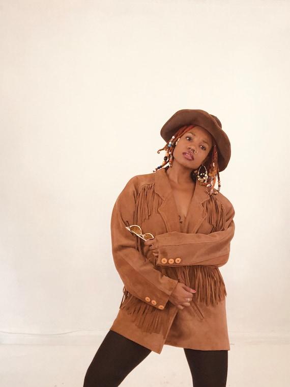 Brown Vintage Suede Fringe Jacket
